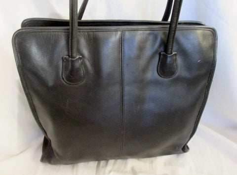 Vintage COACH 7303 Leather Tote Shoulder Bag Briefcase Attache Carryall BLACK Laptop