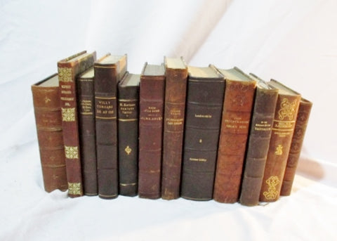 "Antique 16"" Leather Books LOT Decorative Staging BROWN Home Design Color Therapy"