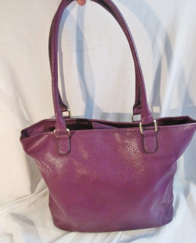 New Vegan Pebbled Faux Leather TOTE Market Book Bag Carryall SHOPPER PURPLE L
