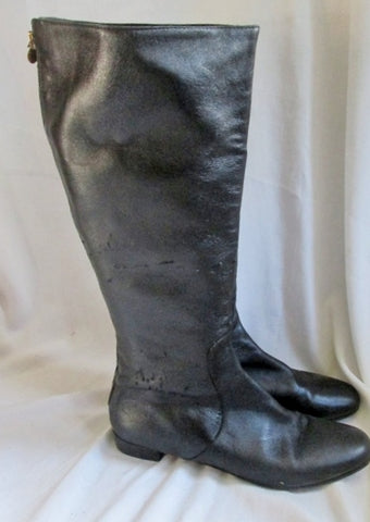 Womens KATE SPADE NEW YORK Leather Knee High Boot BLACK 10 ITALY Distressed