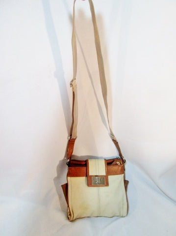 TIGNANELLO Vegan Shoulder Bag Stitch Purse Swingpack Wallet WHITE BROWN