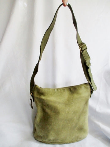 COACH 4932 Leather Suede Hobo Duffel Bucket shoulder bag purse GREEN SAGE