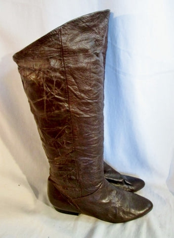 Womens LJ SIMONE PAPER BAG Textured Crinkled Leather Boots BROWN 8 Western