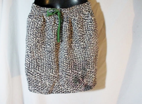 CELINE FRANCE SILK Mini SKIRT 36 / 4 WHITE BLACK GRAY DOT Womens