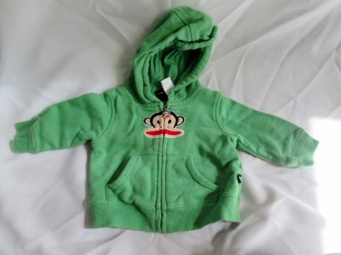 Baby Infant SMALL PAUL FRANK MONKEY Sweatshirt JACKET Hoodie 6/9 M GREEN