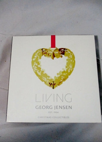 NEW LIVING GEORG JENSEN Christmas Collectibles Ornament GOLD HEART Wreath