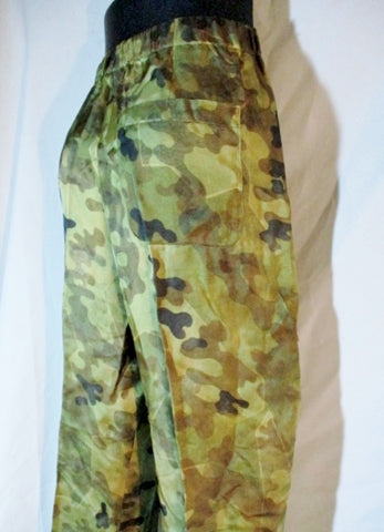 NEW DRIES VAN NOTEN Pants Trousers 48 M CAMO CAMOUFLAGE GOLD Womens Stretchy