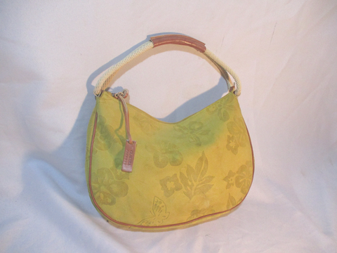 CLAUDIA FIRENZE FLORAL SUEDE Leather Shoulder Bag Hobo Purse YELLOW