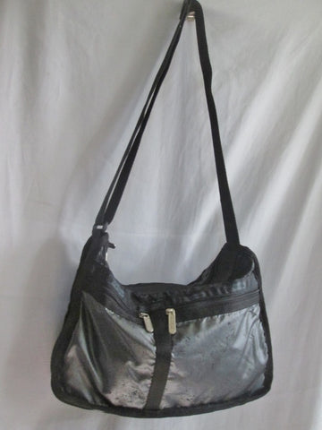 Le Sport Sac LESPORTSAC Nylon shoulder travel bag purse crossbody BLACK SILVER Vegan