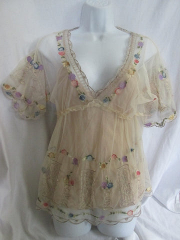 WOMENS VIOLA ANTHROPOLOGIE Peasant Shirt Top Lace Floral ECRU 4 Hippie