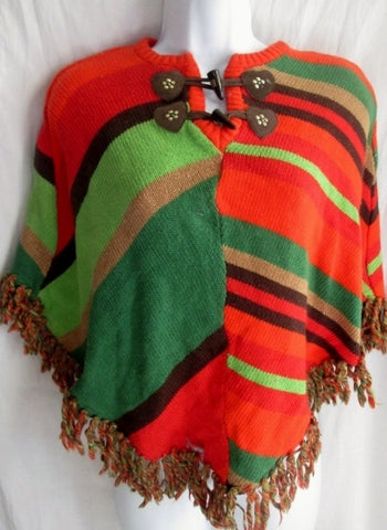 Girls Kids  Poncho Cape Jacket STRIPE L 10/12 Fringe Boho Hippie