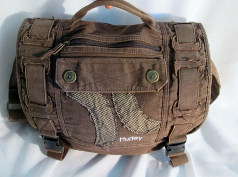 HURLEY Crossbody Bag Messenger Purse Laptop Carrier Case BROWN Vegan