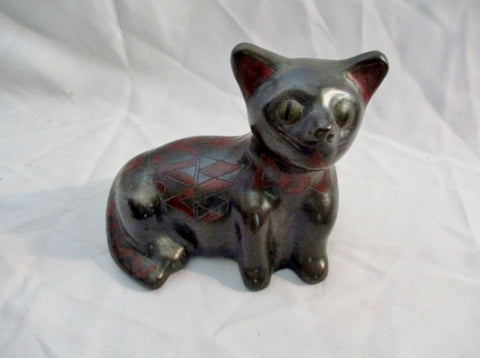 Handmade Ceramic CAT KITTY KITTEN Sculpture Folk Art Primitive Figurine BLACK Ethnic