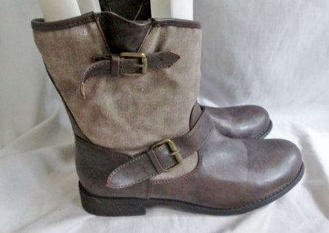 Womens XXI Vegan Canvas Faux Leather Ankle BOOTS Booties BROWN 10 Ren Faire