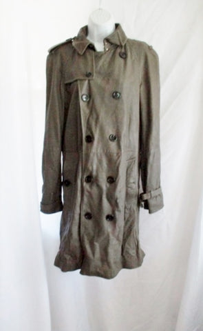 BURBERRY ITALY LEATHER TRENCH COAT Jacket 48 OLIVE GREEN KHAKI Womens