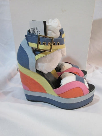NEW PIERRE HARDY PLATFORM WEDGE Heel Shoe Sandal MULTI 37 6.5 Canvas Stripe