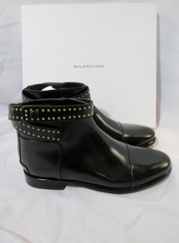 NEW NIB BALENCIAGA FLAT Leather Ankle BOOT Bootie 36.5 6 BLACK Womens