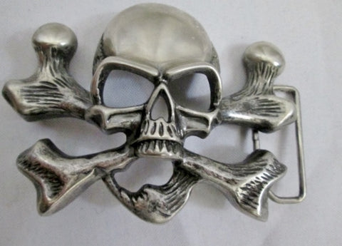Vintage SKULL SKELETON KING CROSSBONES Silver BELT BUCKLE Tattoo BIKER Rider