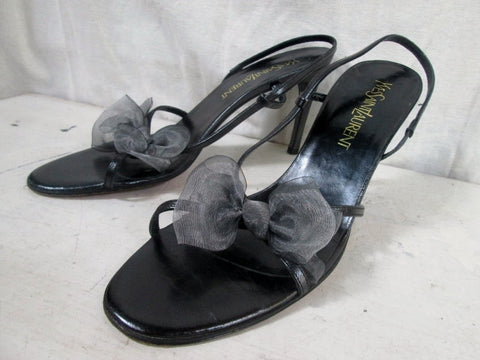 Womens YVES SAINT LAURENT Sandals Heel Italy Strappy LEATHER BLACK 9 BOW