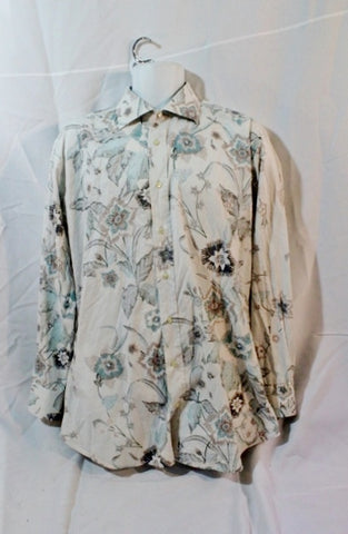 Mens ETRO ITALY Button Up Top Shirt Boho 44 XL WHITE BLUE BROWN Floral