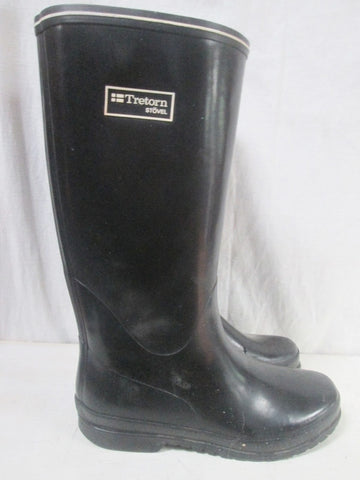 Womens TRETORN STOVEL Gumboots Wellies Rainboots Foul Weather BLACK 8.5 Rain Boots