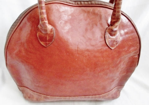 ALFA FLORENCE ITALY GENUINE LEATHER Loop Hoop Bag Tote Purse Satchel BROWN