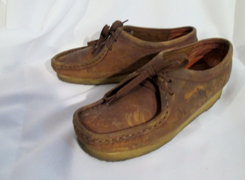 Womens CLARKS ORIGINALS WALLABEE Leather Shoes Loafers BROWN 7.5 Lace Up