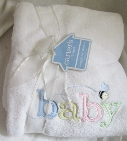 NEW NWT Carter's Classics BUMBLEBEE blanket Swaddle Baby Infant WHITE 30X40 Gift Shower
