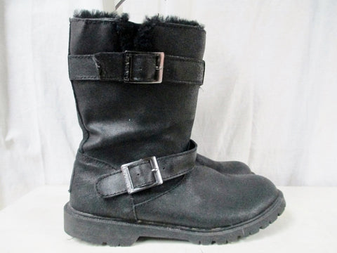 Womens BEARPAW CHLOE Leather Winter BOOTS Shoes Sheepskin Moto BLACK 9 Snow