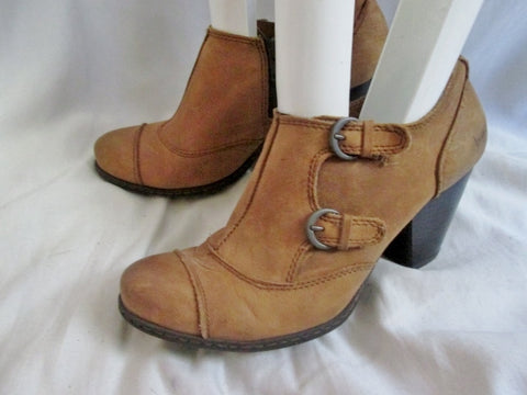 Womens BORN ANKLE BOOT BOC BUCKLE Zip Leather Shoe Bootie 7.5 BROWN Boho