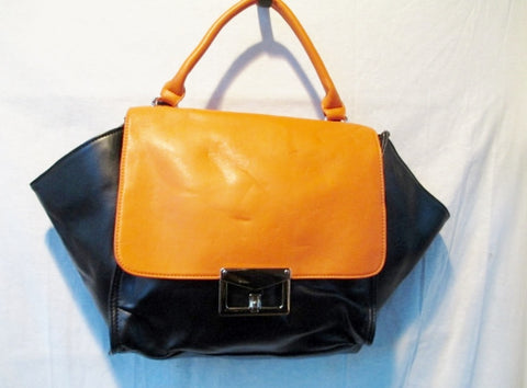 GALIAN NEW YORK synthetic faux leather handbag clutch flap bag BLACK ORANGE