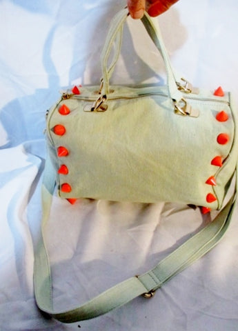 DEUX LUX EMPIRE CITY Stud Spike Tote Bag Purse GRAY NEON PINK Punk