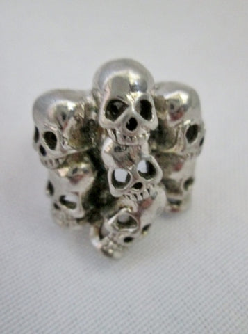Modern SKULL SKELETON HEAD Silver Statement Ring Sz 8 Industrial Hellraiser Thrasher