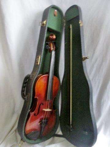 Vtg JOHN JUZEK Prague 3/4 STUDENT VIOLIN String Musical Instrument Wood BUNDLE