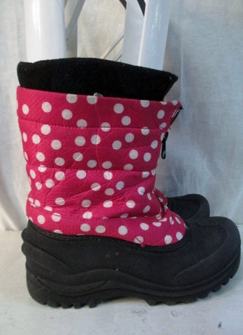 Kids Girls ITASCA Insulated Waterproof Rain Snow Boots Winter PINK 2 Polka Dot
