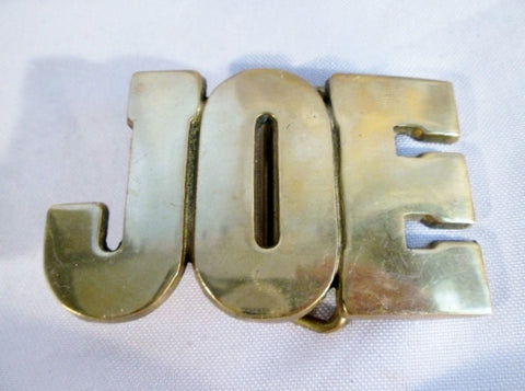 "Vintage 3"" SOLID BRASS ""JOE"" Name Monogram Autograph BELT BUCKLE 1970s Style"