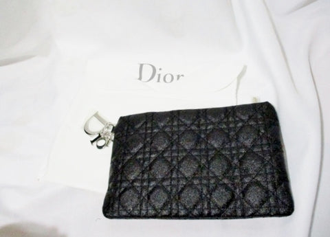 NEW CHRISTIAN DIOR Cannage Lady Dior Clutch Bag Purse BLACK Quilted