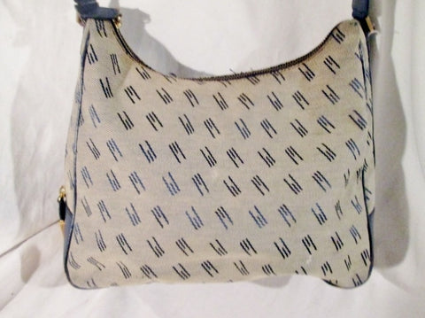 Vintage MISSONI Signature CANVAS Leather Hobo Satchel Purse BEIGE BLUE M