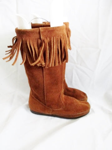 Womens MINNETONKA Suede Fringe Boots Moccasin Hippy BROWN 6 Leather