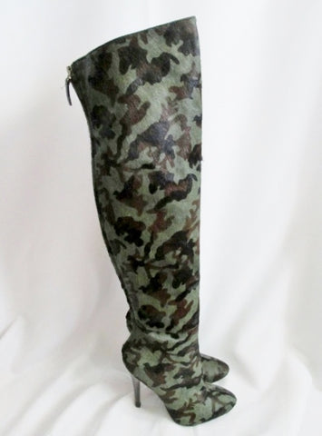 Womens NINE WEST BAM Fur LEATHER Steampunk Thigh High Heel BOOT CAMO 6 Fetish