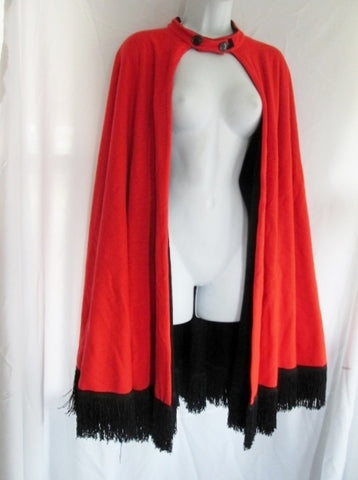 Vintage CAPE Adult Costume Cosplay Disguise Halloween FRINGE BLACK ORANGE Superhero