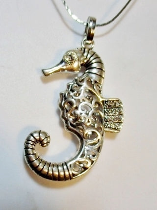 NEW VERONA Rhinestone Silver SEAHORSE Mermaid Necklace Choker Nautical