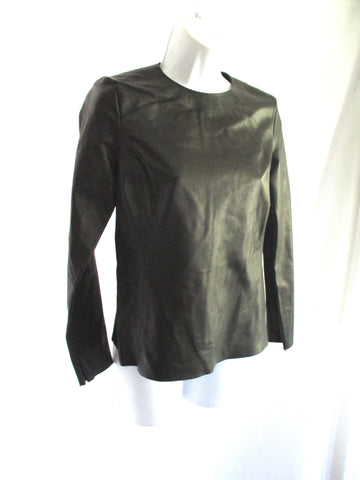 New CELINE ITALY LAMBSKIN LEATHER Top Shirt 40 BLACK Long Sleeve Womens