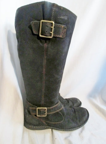 BORN BOC Knee High Suede LEATHER Moto RIDING BOOT Shoes BLACK 7.5