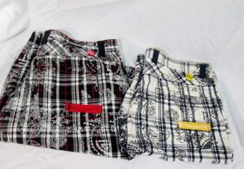 Lot Mens PEPE JEANS LONDON Shorts Pants 44 Cotton PLAID MADRAS Embroidered