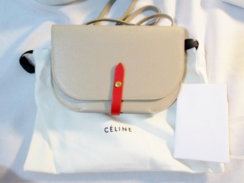 NEW NWT CELINE PARIS Leather Crossbody FLAP Bag Purse TAUPE BEIGE