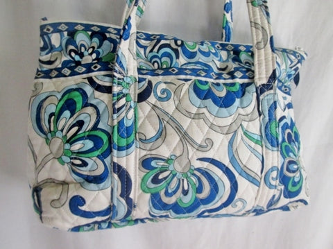 VERA BRADLEY Vegan Quilted Bag Satchel Tote WHITE BLUE GREEN GRAY SWIRLY SWIRL