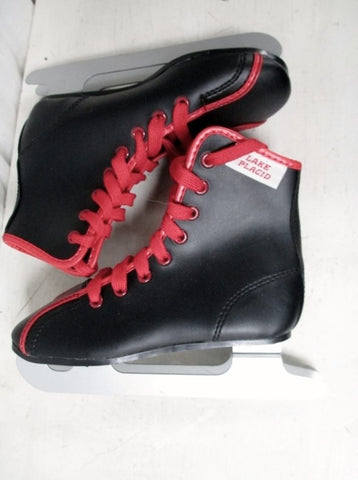 NEW Kids Toddlers LAKE PLACID Figure Ice Skates 12 BLACK RED DOUBLE BLADE