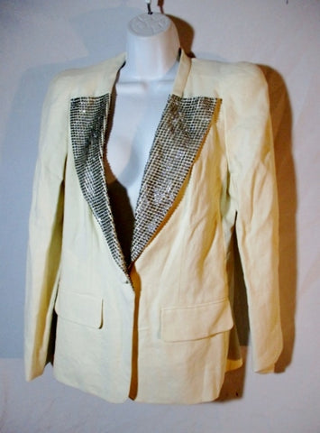 NEW CHLOE MILK DIAMONTE JACKET Blazer Glittery 38 / 6 CREME WHITE Silk Linen Womens