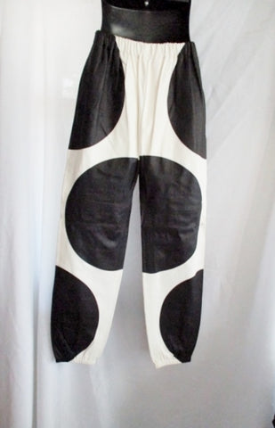 NEW NWT CELINE PARIS LEATHER DOT PANTS BLACK WHITE 36 / 4 ITALY